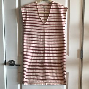 Madewell cream red stripe vneck dress XXS